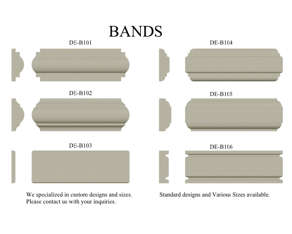 Precast Bands, Banding, and mid bands.